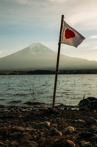 Japanese flag in front of Mt. Fuji.