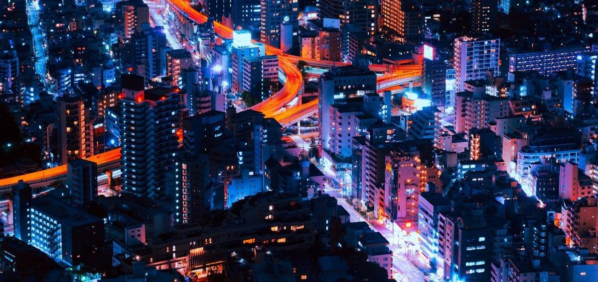 View of Tokyo at night.