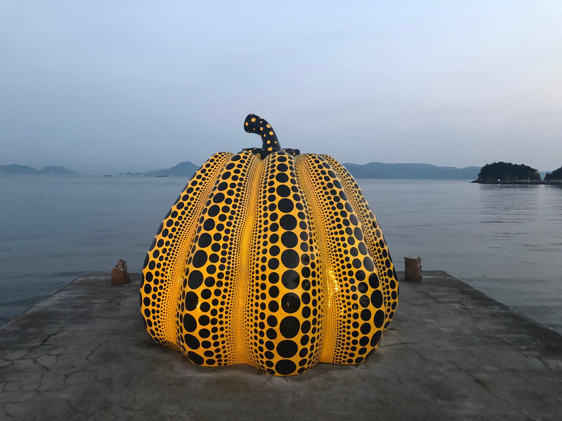 Yayoi Kusama's Yellow Pumpkin in Naoshima