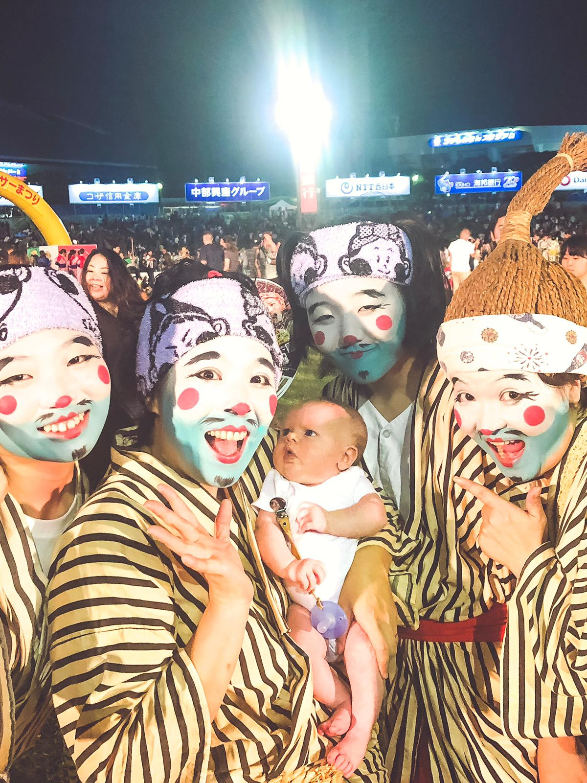 Confused baby and people in ossan makeup