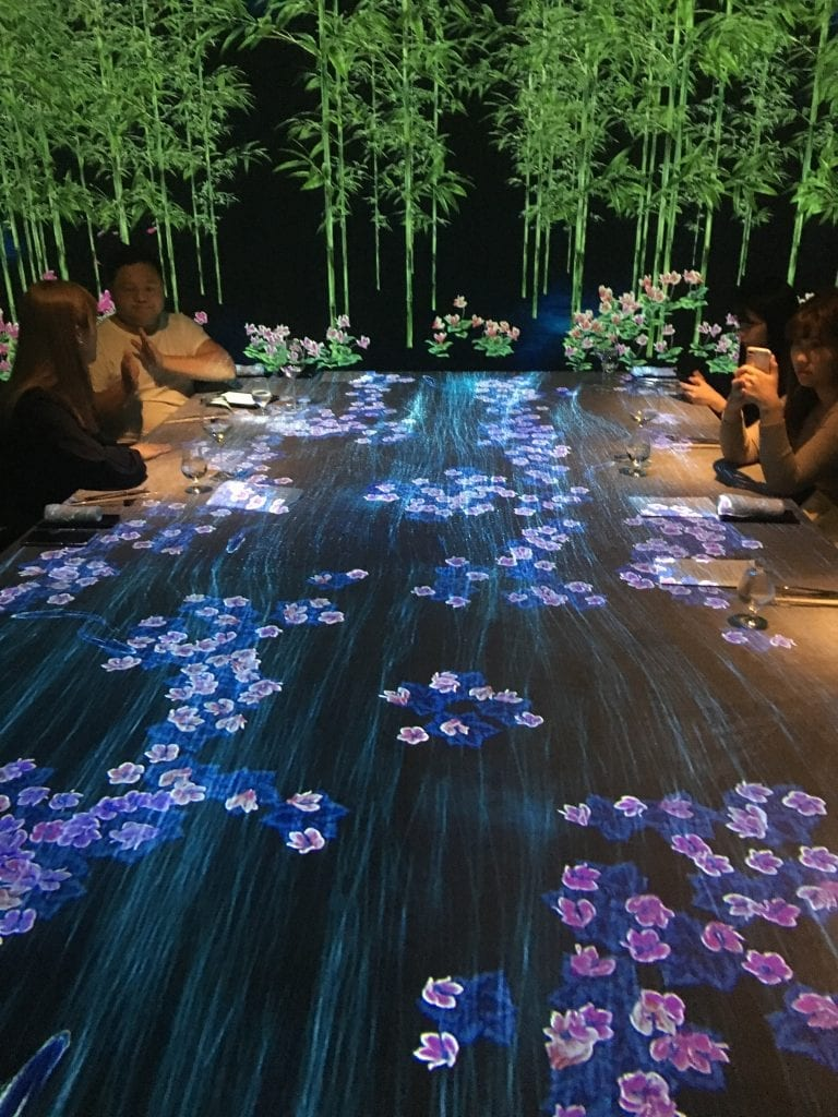 A river of flowers at Mooflower Sagaya Ginza Teamlab Collaboration