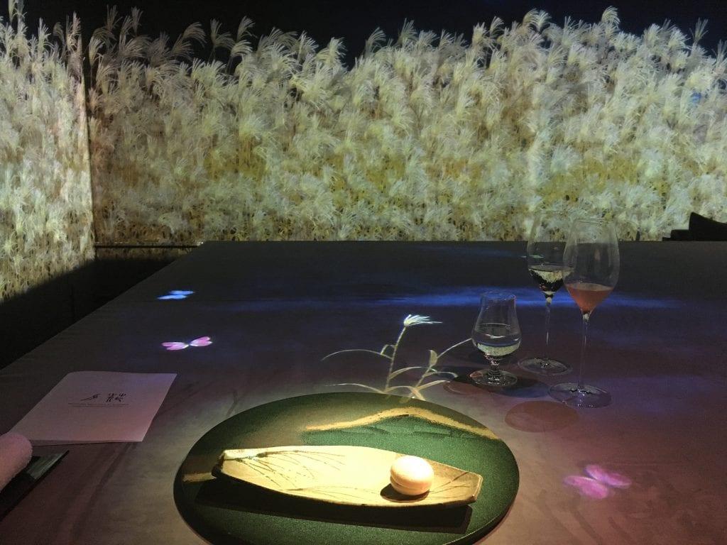 Pampas grass display at Moonflower Sagaya Ginza