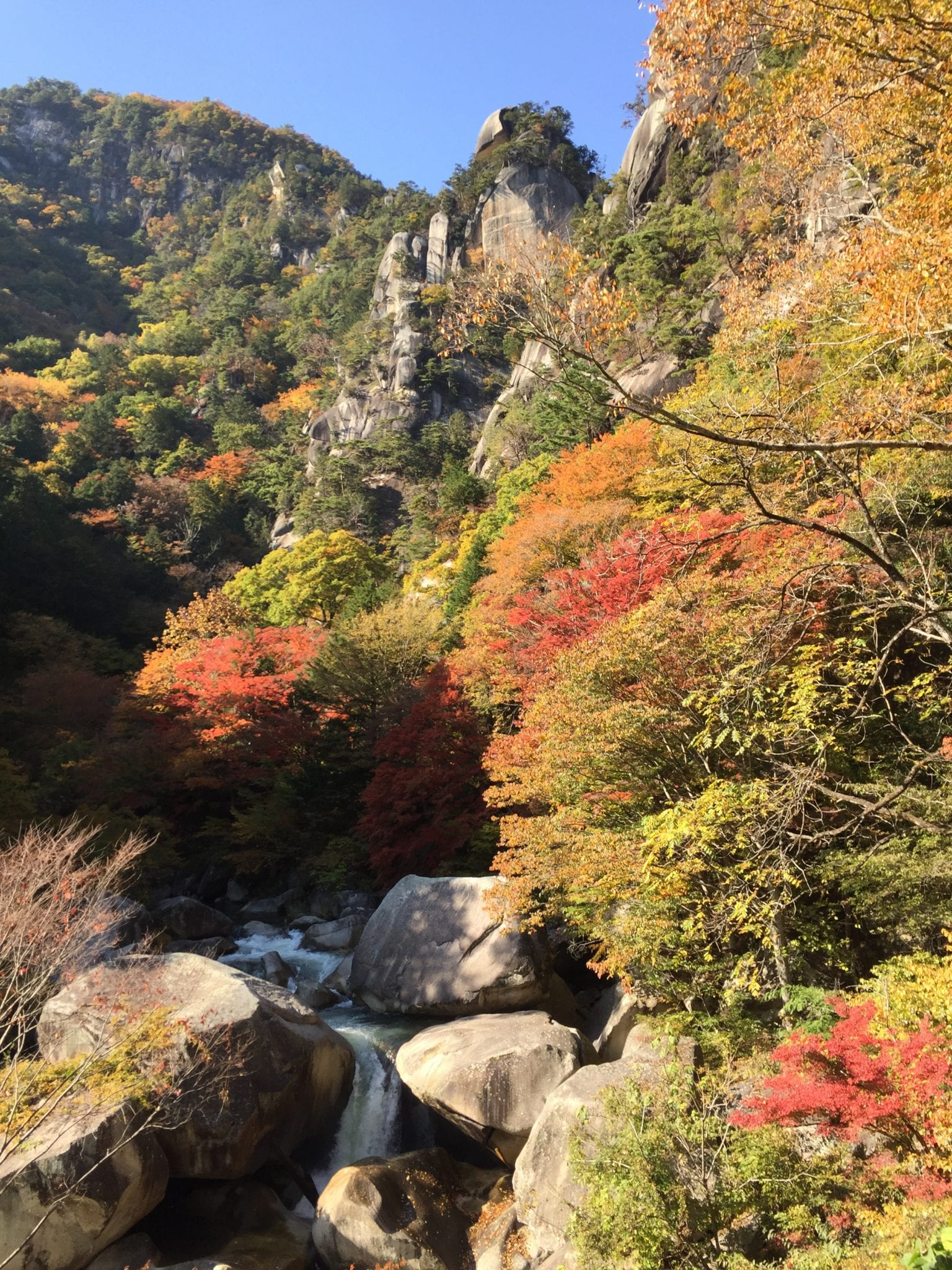 Fall foliage in Shosenkyo Gorge.