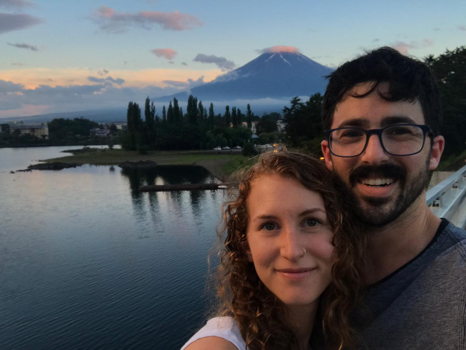Portrait of couple with Mt Fuji in the background.