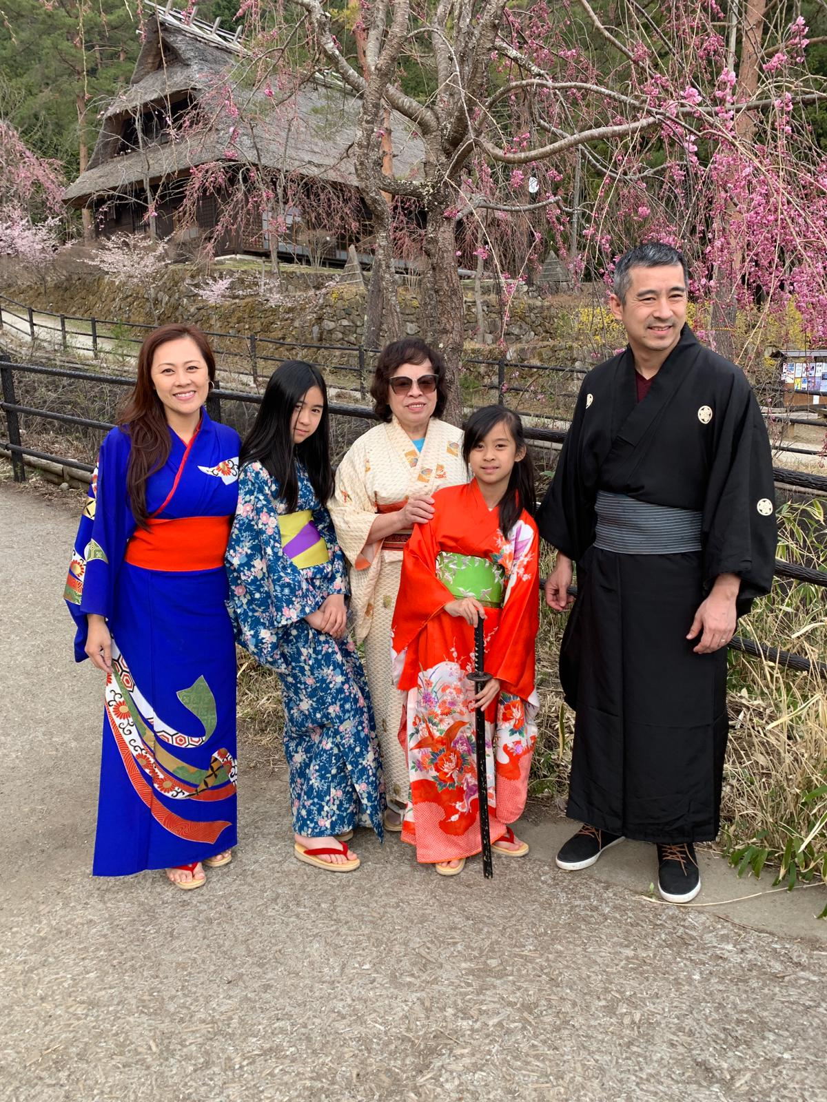 Family wearing Japanese yukata.