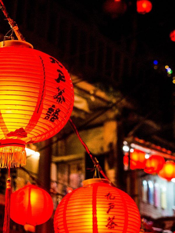 Traditional red lanterns during Nagasaki lantern festival.