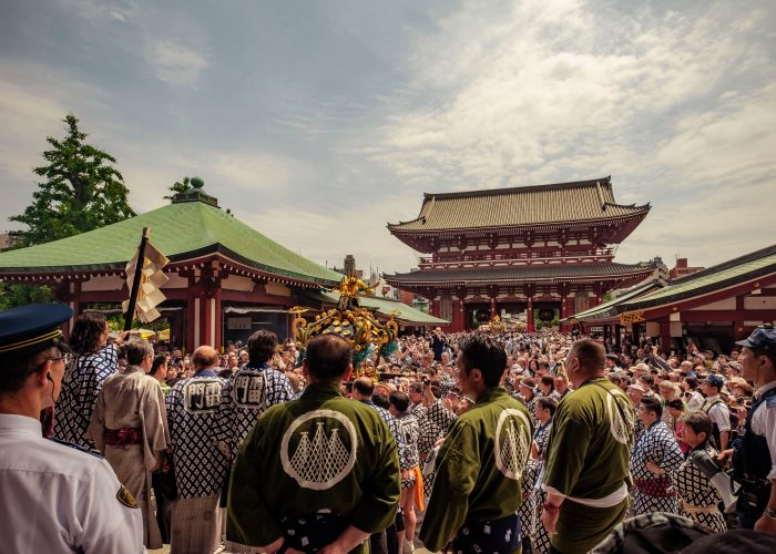 Crowd at Sanja festival by Sensoji temple.