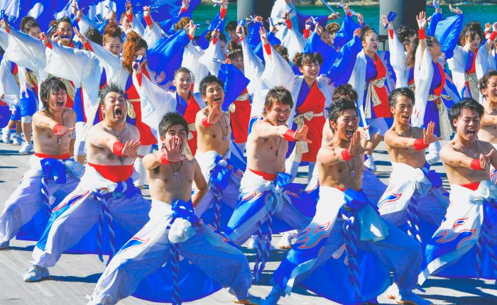 Men performing during a Japanese festival.