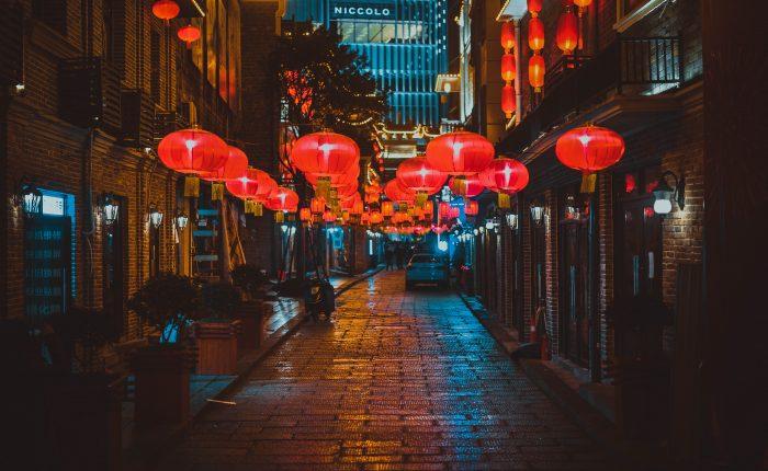 Red lanterns on an empty street in Nagasaki.
