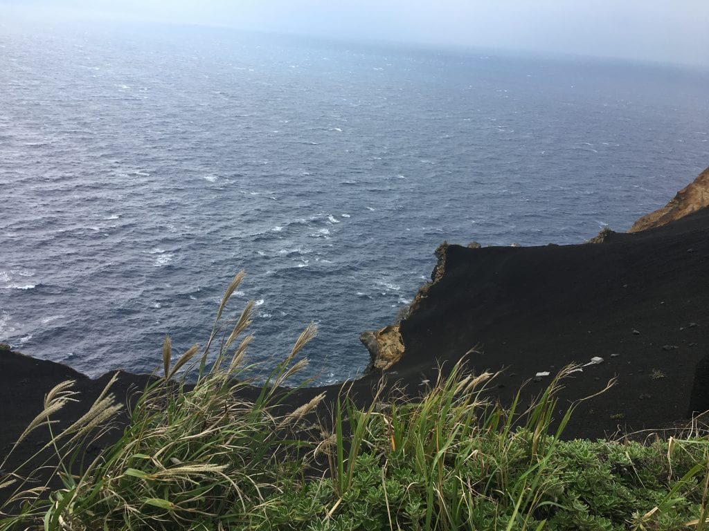 Black sand and cliff in Hachijojima